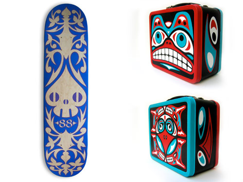 Reactor-88 Old Show Pieces/Spade-Skull Skatedeck & Totem Lunchbox